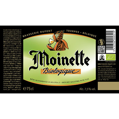 5410702000515 Moinette Bio<sup>1</sup> - 75cl Bottle conditioned organic beer (control BE-BIO-01) Sticker Front